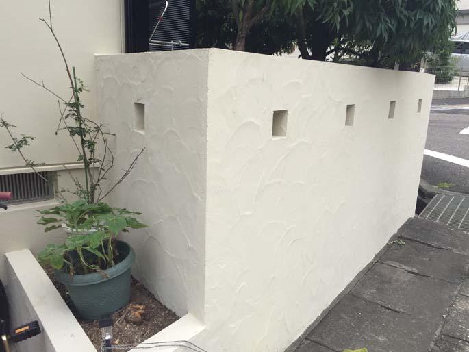 外壁塗装工事の擁壁の塗装後