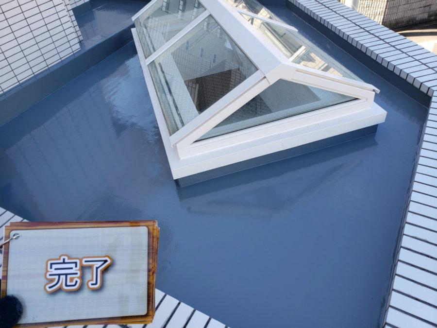 名古屋市のバルコニーのウレタン密着防水塗装工事の施工後の写真